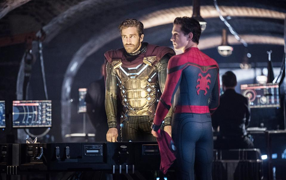 Gyllenhaal and Holland in 'Spider-Man: Far From Home' (Photo: Jay-Maidment / © Columbia / © Marvel Studios/ Courtesy Everett Collection)