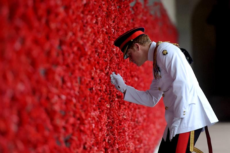Britain's Prince Harry places a poppy at the Roll of Honour, during a visit to the Australian War Memorial, in Canberra, on April 6, 2015 (AFP Photo/Lukas Coch)