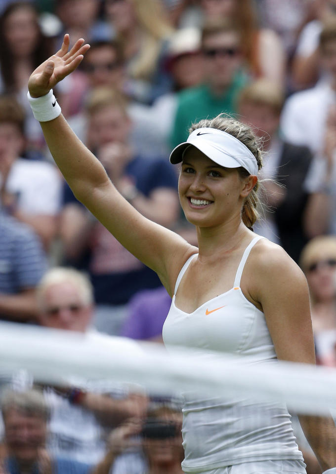 Canada's Eugenie Bouchard celebrates defeating Serbia's Ana Ivanovic during day Three of the Wimbledon Championships at The All England Lawn Tennis and Croquet Club, Wimbledon.