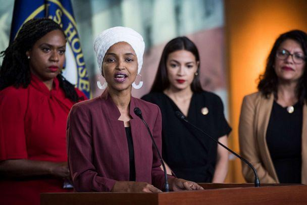 PHOTO: From left, Reps. Ayanna Pressley, D-Mass., Ilhan Omar, D-Minn., Alexandria Ocasio-Cortez, D-N.Y., and Rashida Tlaib, D-Mich., conduct a news conference, Monday, July 15, 2019. (Tom Williams/CQ-Roll Call, Inc via Getty Images)