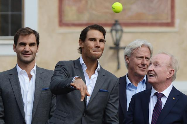 (L to R) Swiss tennis player Roger Federer, Spanish tennis player Rafael Nadal, Swedish former tennis player Bjorn Borg and former tennis player of Australia Rod Laver pose on the stage ahead of the tennis Laver Cup on September 20, 2017 in Prague, Czech Republic.European players compete against players from the rest of the World during the Laver Cup tournament that runs from from September 22-24. (AFP Photo/Michal Cizek)