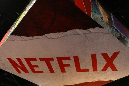 The Netflix logo is shown above their booth at Comic Con International in San Diego,