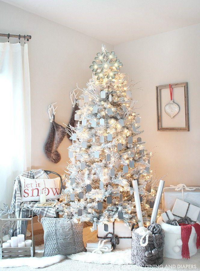 """<p>For something subdued, transform your plain pine into a rustic modern creation with a gray and white color scheme. </p><p><strong><em>Get the tutorial at <a href=""""https://tarynwhiteaker.com/gray-and-white-christmas-tree/"""" rel=""""nofollow noopener"""" target=""""_blank"""" data-ylk=""""slk:Taryn Whiteaker Designs"""" class=""""link rapid-noclick-resp"""">Taryn Whiteaker Designs</a>. </em></strong></p><p><a class=""""link rapid-noclick-resp"""" href=""""https://www.amazon.com/Unfinished-Hanging-Christmas-Holiday-Decoration/dp/B08NCT9JF6?tag=syn-yahoo-20&ascsubtag=%5Bartid%7C10070.g.2025%5Bsrc%7Cyahoo-us"""" rel=""""nofollow noopener"""" target=""""_blank"""" data-ylk=""""slk:SHOP WOODEN TAGS"""">SHOP WOODEN TAGS</a></p>"""