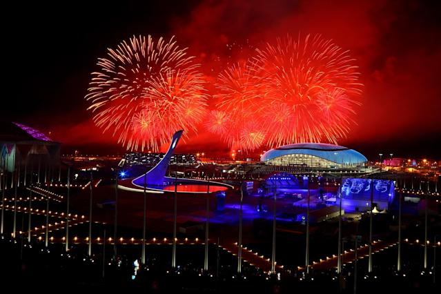 SOCHI, RUSSIA - FEBRUARY 23: Fireworks explode over Olympic Park during the 2014 Sochi Winter Olympics Closing Ceremony on February 23, 2014 in Sochi, Russia. (Photo by Al Bello/Getty Images)