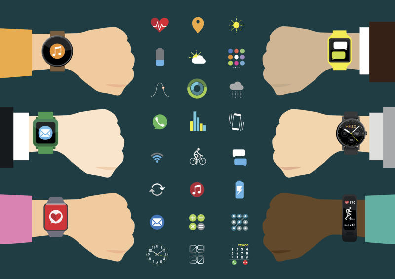Illustration of various wrist-worn wearables
