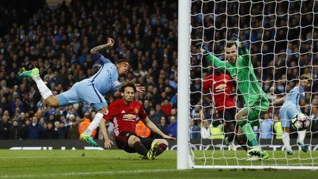 Britain Soccer Football - Manchester City v Manchester United - Premier League - Etihad Stadium - 27/4/17 Manchester City's Gabriel Jesus scores but it is later disallowed for offside Action Images via Reuters / Jason Cairnduff Livepic
