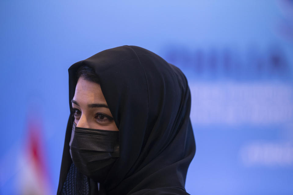 Reem Ebrahim Al-Hashimi, Emirati Minister of State for International Cooperation, takes part in meeting, in Athens, on Thursday, Feb. 11, 2021. Foreign ministers and senior officials from several Persian Gulf countries met in Athens, as Greece seeks to expand alliances to counter tension with regional rival Turkey. (AP Photo/Petros Giannakouris)