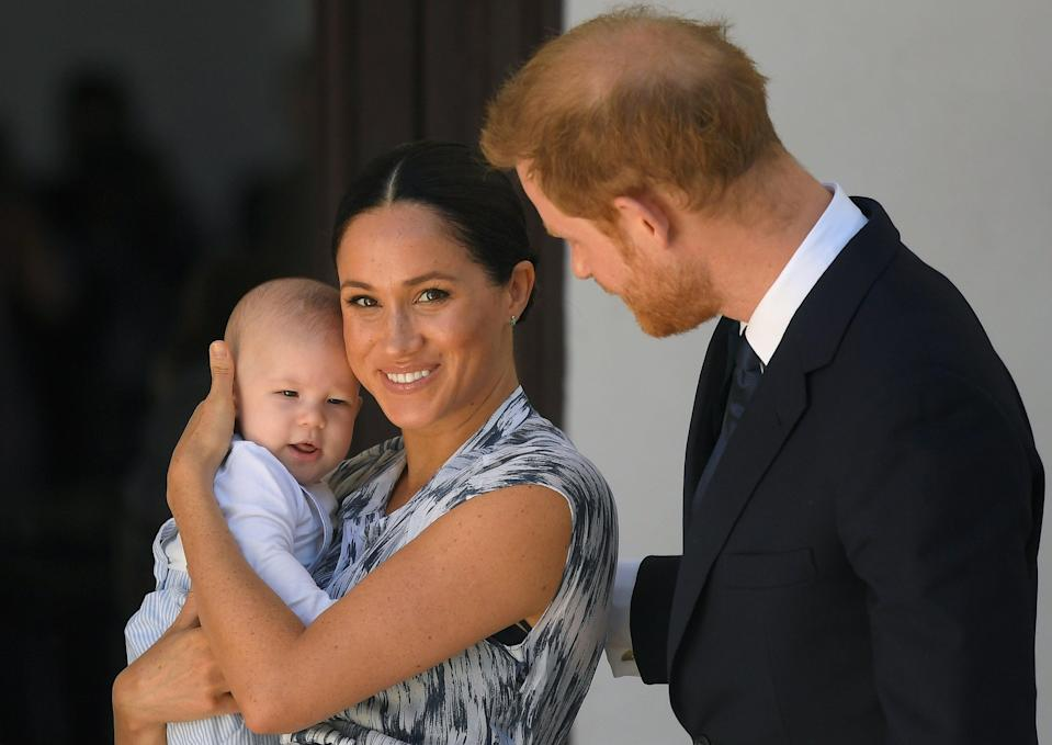 <p> Harry and Meghan, and their baby son Archie Mountbatten-Windsor at a meeting with Archbishop Desmond Tutu at the Desmond & Leah Tutu Legacy Foundation during their royal tour of South Africa on September 25, 2019 in Cape Town, South Africa. </p> ((Photo by Toby Melville - Pool/Getty Images))