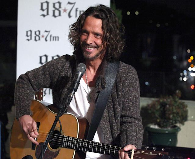 "<p>The grunge-rock artist, best known for his work with Soundgarden and Audioslave, <a href=""https://www.yahoo.com/music/chris-cornell-laid-rest-private-230144465.html"" data-ylk=""slk:hanged himself;outcm:mb_qualified_link;_E:mb_qualified_link"" class=""link rapid-noclick-resp newsroom-embed-article"">hanged himself</a> in a Detroit hotel room in May, hours after playing a show. Cornell had long been public about his battles with depression and addiction. His pal Chester Bennington, the Linkin Park musician who would die by suicide just two months later, performed Leonard Cohen's ""Hallelujah"" at Cornell's private L.A. memorial. (Photo: Getty Images) </p>"