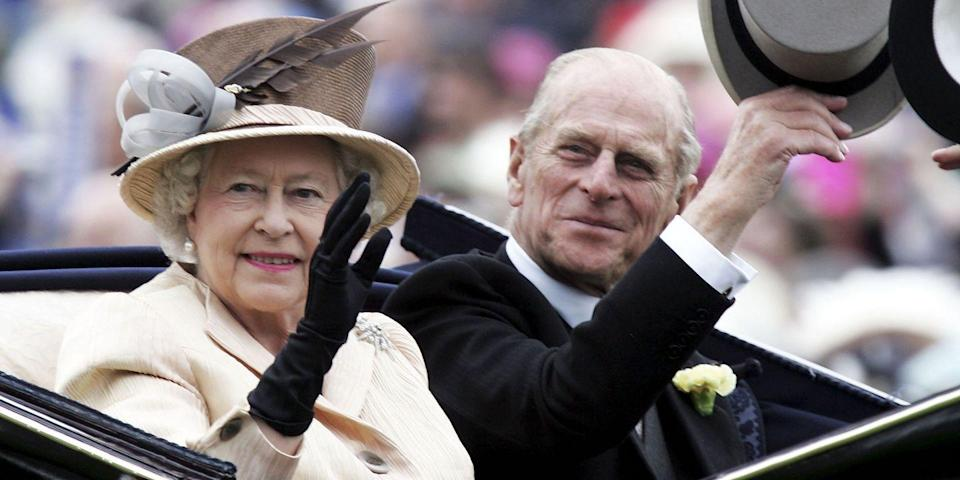 <p>The queen and her husband looked pleased as she rode in the Royal Carriage on the third day of Royal Ascot.</p>