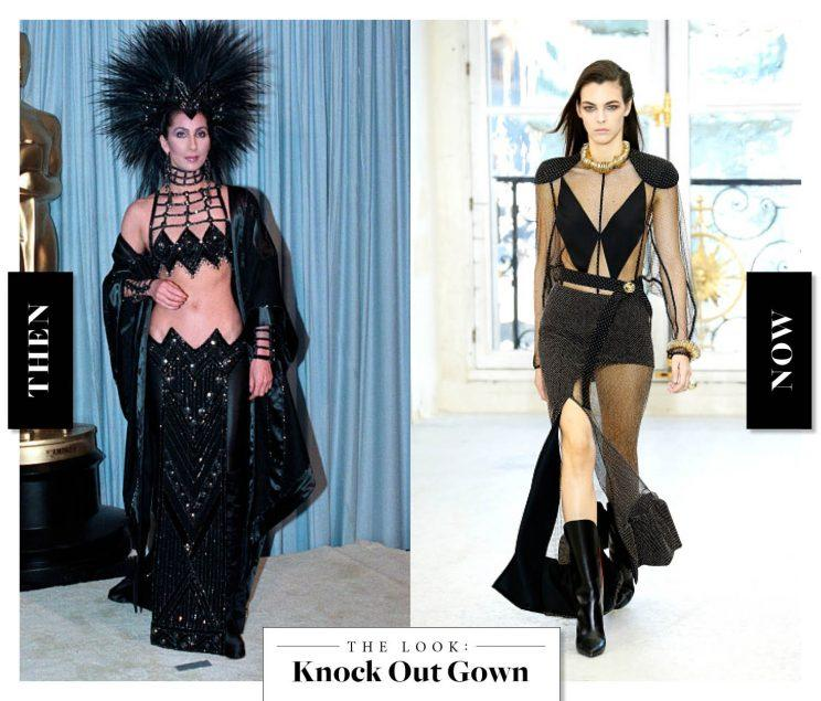 The Knock Out Gown as seen on Cher in the '80s, and at Louis Vuitton today. (Photo: Getty Images)