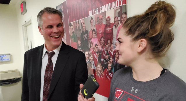 Brian Posick interviews his daughter, Maddie Posick, after scoring her first collegiate goal. (Twitter // @ToddMilewski)