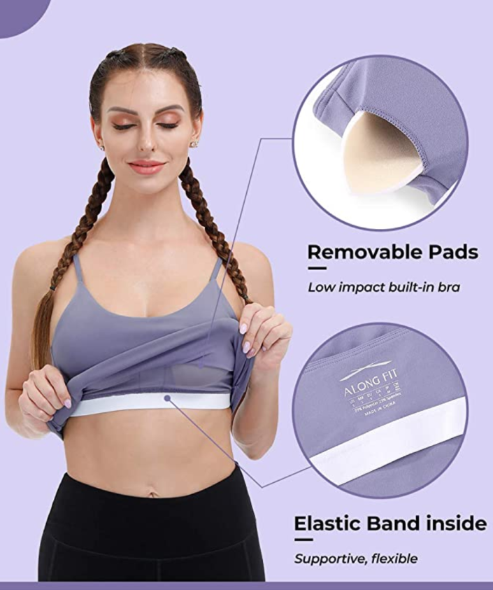 The built-in bra inside this crop top/sports bra is lined with mesh to moisture-wicking materials to keep you dry and comfortable throughout your workouts.