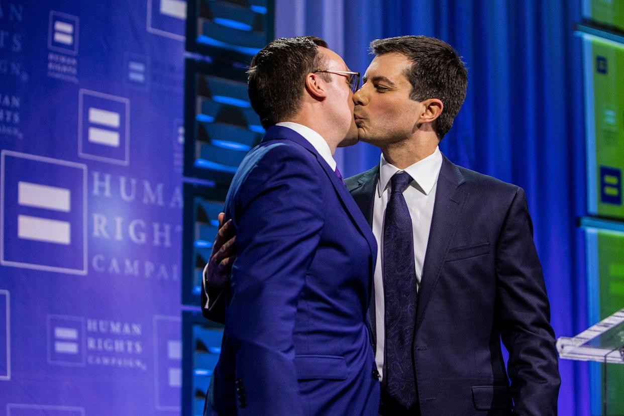 Pete Buttigieg, right, with his husband, Chasten Glezman Buttigieg. (Photo: Joe Buglewicz/AP for Human Rights Campaign)