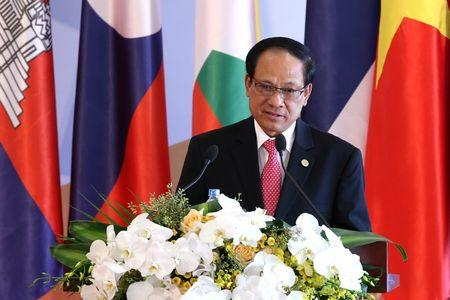 Le Luong Minh, Secretary General of the Association of Southeast Asian Nations (ASEAN) delivers a speech during the opening ceremony of the the CLMV-8 and ACMECS-7 in Hanoi