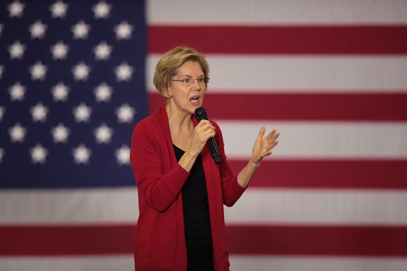 DUBUQUE, IOWA - NOVEMBER 02: Democratic presidential candidate Sen. Elizabeth Warren (D-MA) speaks to guests during a campaign stop at Hempstead High School on November 02, 2019 in Dubuque, Iowa. The 2020 Iowa Democratic caucuses will take place on February 3, 2020, making it the first nominating contest for the Democratic Party in choosing their presidential candidate. (Photo by Scott Olson/Getty Images)