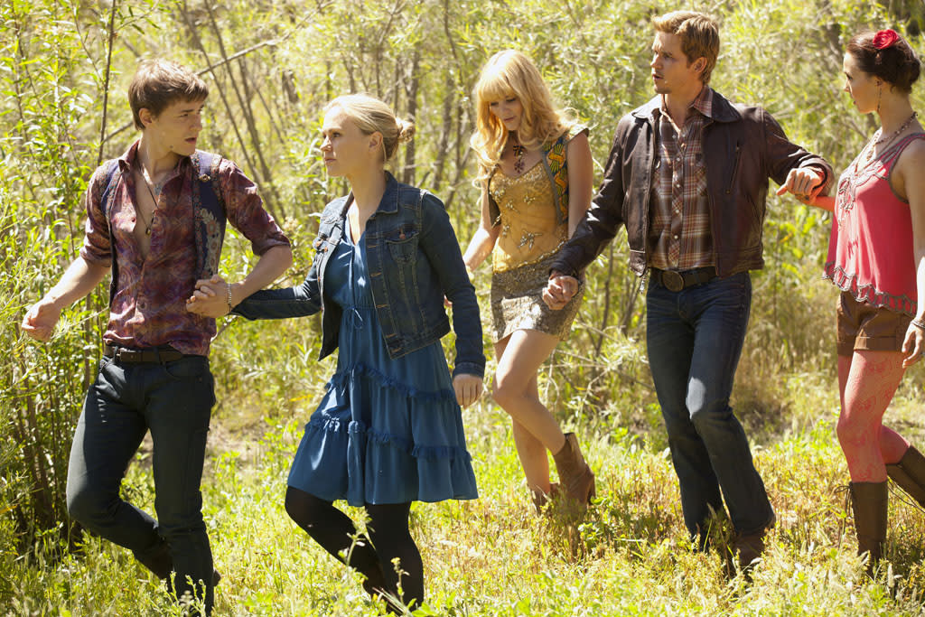 "Giles Matthey, Anna Paquin, Emma Greenwell, Ryan Kwanten and Camilla Luddington in the ""True Blood"" episode, ""Somebody That I Used to Know."""