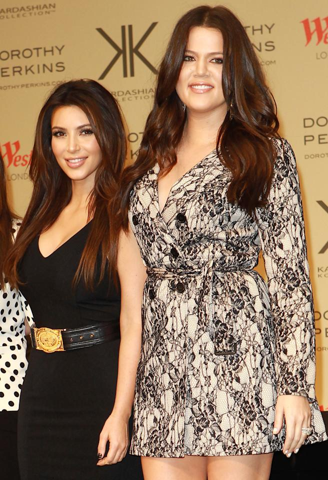 LONDON, UNITED KINGDOM - NOVEMBER 10: Kourtney Kardashian, Kim Kardashian and Chloe Kardashian attend a photocall to launch the Kardashian Kollection for Dorothy Perkins at Westfield on November 10, 2012 in London, England. (Photo by Fred Duval/FilmMagic)