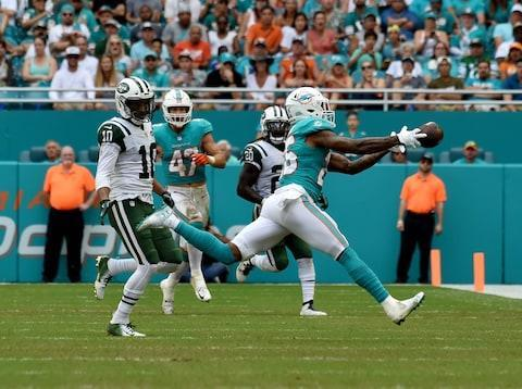 <span>Dolphins cornerback Xavien Howard breaks up a Sam Darnold pass in Miami's 13-6 win at Hard Rock</span> <span>Credit: Steve Mitchell/USA Today </span>
