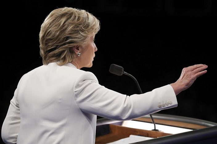 Hillary Clinton answers a question during the third presidential debate at UNLV in Las Vegas, Wednesday, Oct. 19, 2016. (Photo:Joe Raedle/Pool via AP)