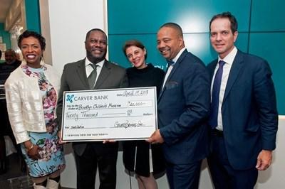Photo from left to right: Congresswoman Yvette Clark; Michael T. Pugh, Carver President & CEO; Stephanie Wilchfort, Brooklyn Children's Museum President & CEO; Jesse Hamilton, New York State Senator; & Sean O'Neal, Chairman, Board of Trustees, Brooklyn Children's Museum