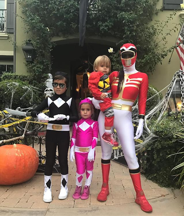 "<p>Coordinated Power Rangers costumes for the family on Halloween would be too cheesy for some people, but not Kourtney. (Photo: <a href=""https://www.instagram.com/p/BMPBPr_FMoK/?taken-by=kourtneykardash"" rel=""nofollow noopener"" target=""_blank"" data-ylk=""slk:Kourtney Kardashian via Instagram"" class=""link rapid-noclick-resp"">Kourtney Kardashian via Instagram</a>)<br><br></p>"