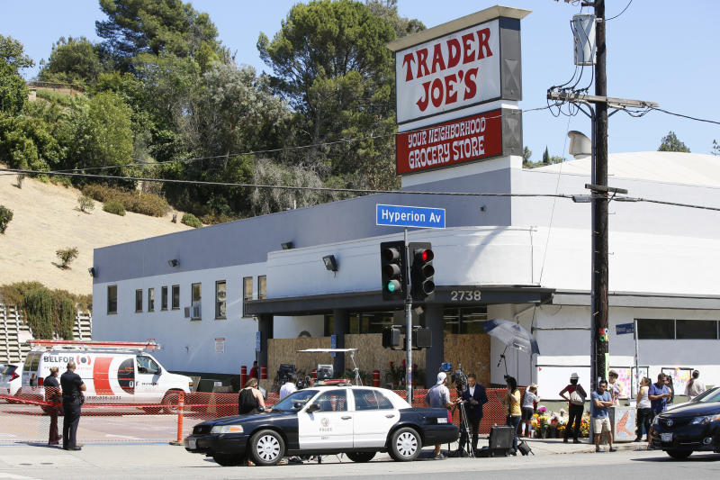 Los Angeles. A day earlier Trader Joe's employee Melyda Corado was shot and killed at the store by a suspect