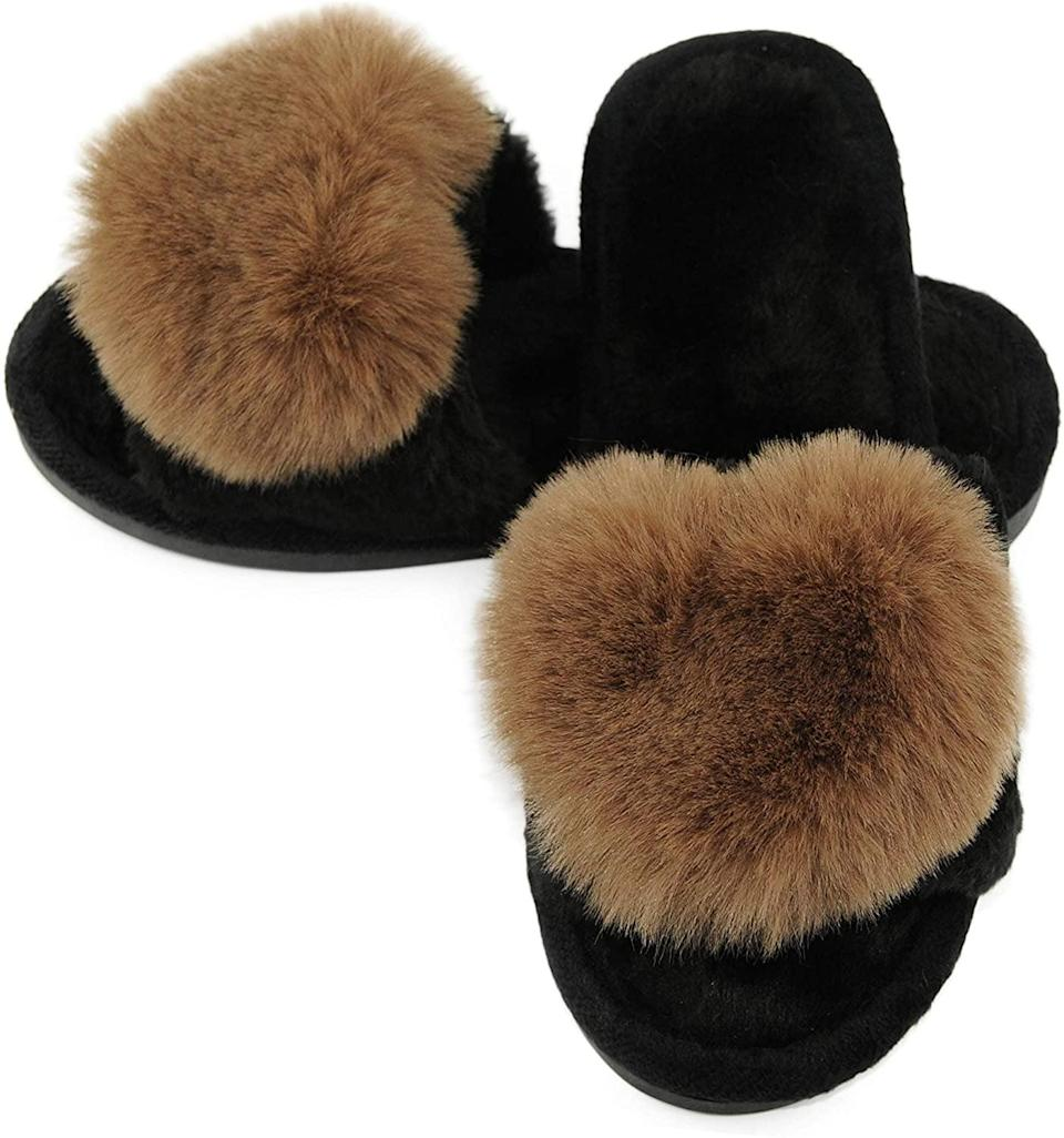 <p>If you like neutrals, go with these <span>Fuzzy Fluffy Furry Fur Slippers</span> ($13).</p>