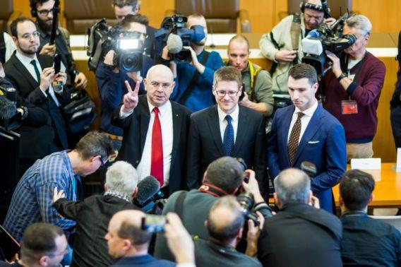 From left: NPD leading member Peter Marx, NPD lawyer Peter Richter and NPD chairman Frank Franz arrive at the Federal Constitutional Court on Jan. 17 in Karlsruhe, Germany. (Photo: Simon Hofmann/Getty Images)