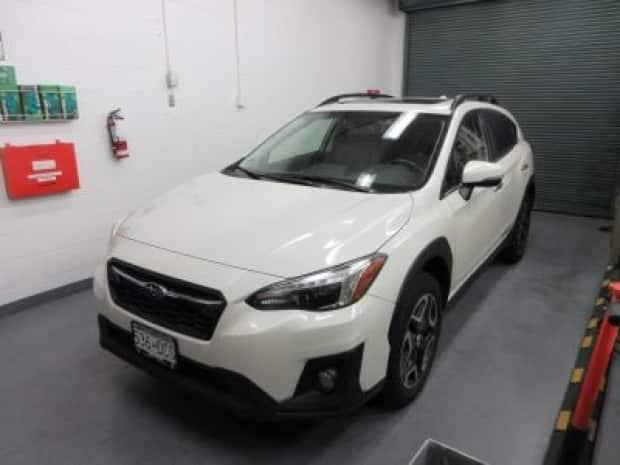 RCMP released a photo of Naomi Onotera's white 2018 Subaru Crosstrek on Sept. 14, 2021. Onotera was reported missing on Aug. 29. (Supplied by Langley RCMP - image credit)