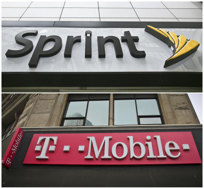 FILE - This combination of April 30, 2018, file photos shows signage for a Sprint store in New York's Herald Square, top, and signage at a T-Mobile store in New York. Texas is joining more than a dozen states suing to stop T-Mobile's $26.5 billion takeover of rival cellphone company Sprint, arguing that the deal is bad for consumers because it would reduce competition. (AP Photo/Bebeto Matthews, File)