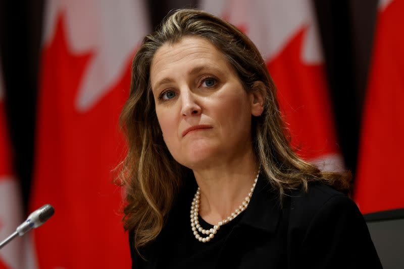 Canada's Deputy Prime Minister and Minister of Finance Chrystia Freeland takes part in a news conference on Parliament Hill in Ottawa