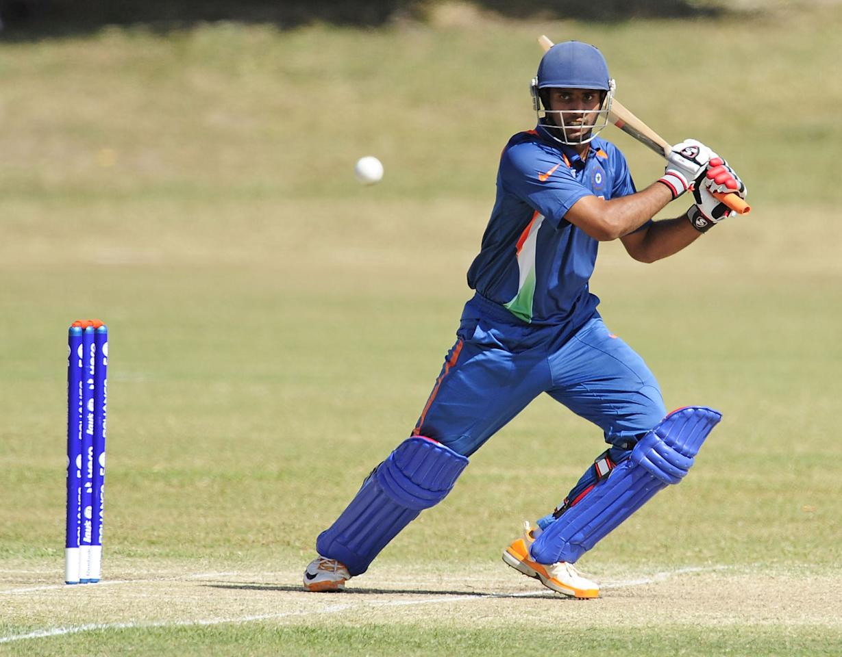 TOWNSVILLE, AUSTRALIA - AUGUST 16:  Hanuma Vihari of India bats during the ICC U19 Cricket World Cup 2012 match between India and PNG at Endeavour Park on August 16, 2012 in Townsville, Australia.  (Photo by Ian Hitchcock-ICC/Getty Images)