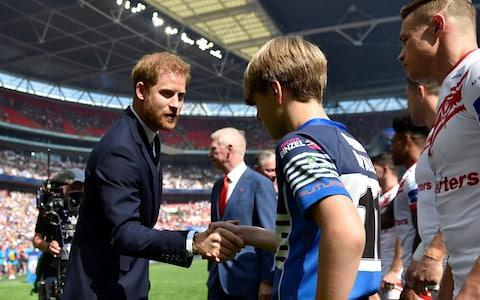 <span>Prince Harry before the Challenge Cup Final. </span> <span>Credit: ADAM HOLT/Action Images via Reuters </span>