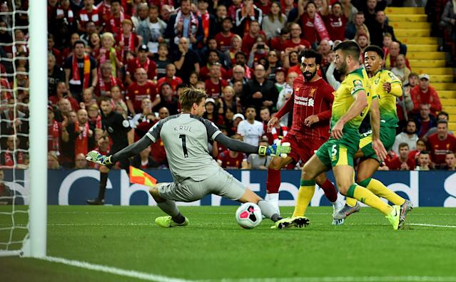 Mohamed Salah slots in Liverpool's second goal at Anfield. (Photo by Andrew Powell/Liverpool FC via Getty Images)