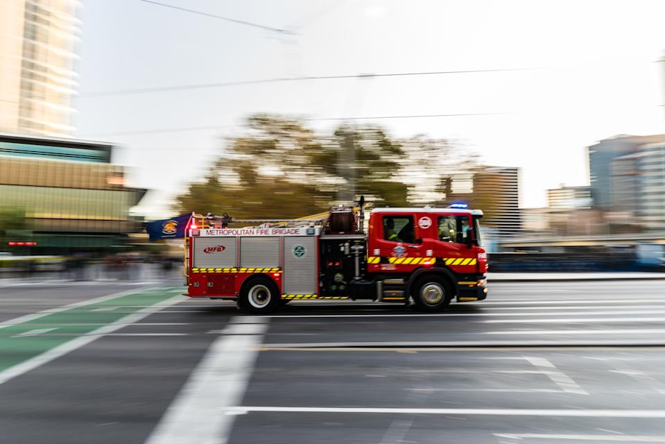 Pictured is a Melbourne Fire Brigade responding to call in Melbourne.