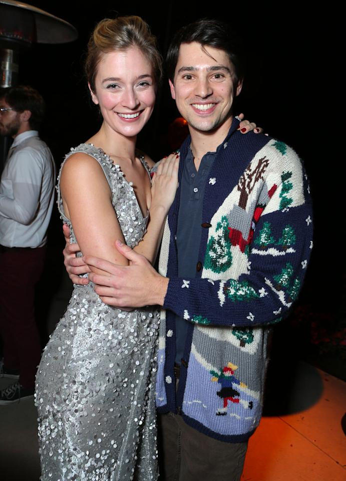 Caitlin Fitzgerald and Nick D'Agosto at Showtime's 7th Annual Holiday Soiree on December 3, 2012 in Beverly Hills, California.