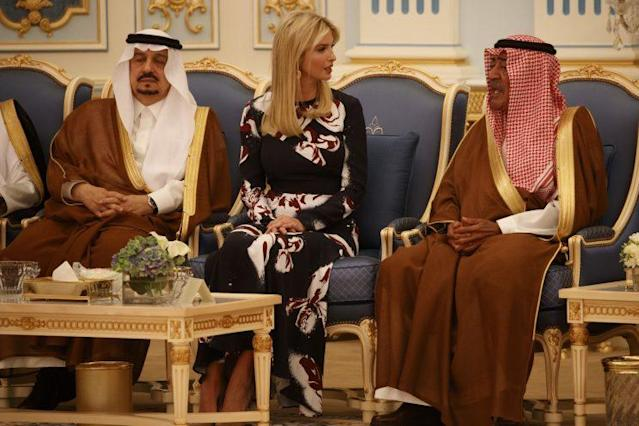 Ivanka Trump accompanied her father and the first ladyon the diplomatic trip to Saudi Arabia. She was a trending topic in the country's social media this weekend. (Photo: AP)