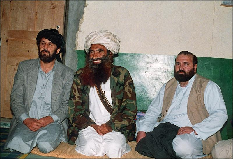 This 1991 file picture shows Jalaluddin Haqqani, centre, the founder of the Haqqani network who rose to prominence as an Afghan mujahideen commander fighting the Soviet occupation of Afghanistan in the 1980s (AFP Photo/Zubair MIR)