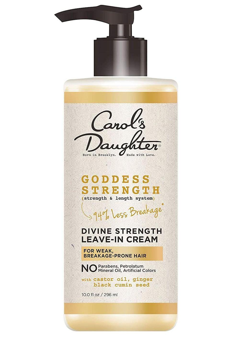 """<p><strong>Carol's Daughter</strong></p><p>amazon.com</p><p><strong>$10.49</strong></p><p><a href=""""https://www.amazon.com/dp/B07YFF1NQQ?tag=syn-yahoo-20&ascsubtag=%5Bartid%7C10049.g.33904669%5Bsrc%7Cyahoo-us"""" rel=""""nofollow noopener"""" target=""""_blank"""" data-ylk=""""slk:Shop Now"""" class=""""link rapid-noclick-resp"""">Shop Now</a></p><p>When it comes to natural hair that's both thick and <a href=""""https://www.cosmopolitan.com/style-beauty/beauty/a29873251/how-to-fix-dry-hair-tips/"""" rel=""""nofollow noopener"""" target=""""_blank"""" data-ylk=""""slk:dry"""" class=""""link rapid-noclick-resp"""">dry</a>, you need a leave-in conditioner that won't just sit on your curls—it needs to penetrate. The medley of <strong>castor oil, black cumin seed, and ginger round out this moisture-retaining formula</strong>, which makes its way all the way down to your roots to get (and keep) your curls hydrated. </p>"""