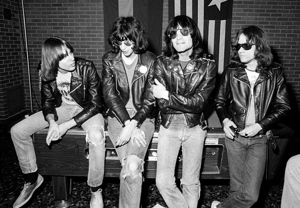 <p>The Ramones pose backstage at the Old Waldorf club in January 1978 in San Francisco, California.</p>