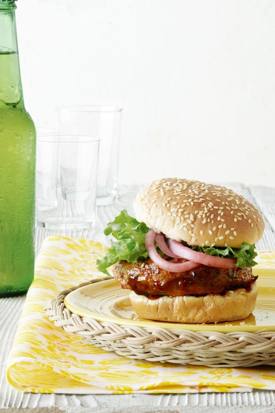 """<p>Tart, tangy, and sweet, pickled red onions and Chinese hoisin sauce make a surprisingly flavorful but simple topping for lean chicken burgers.</p><p><strong><a href=""""https://www.countryliving.com/food-drinks/recipes/a4211/hoisin-chicken-burgers-pickled-red-onions-recipe-clv0813/"""" rel=""""nofollow noopener"""" target=""""_blank"""" data-ylk=""""slk:Get the recipe"""" class=""""link rapid-noclick-resp"""">Get the recipe</a>.</strong></p>"""