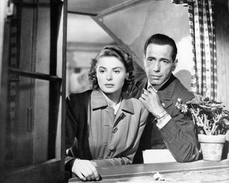 """Ingrid Bergman and Humphrey Bogart look out a window in a scene from the 1942 film """"Casablanca."""""""