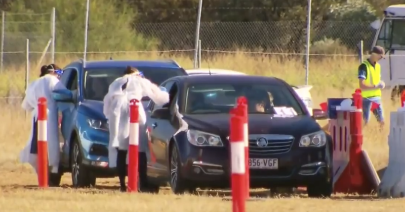 Blackwater residents being tested on Thursday. Source: Nine News