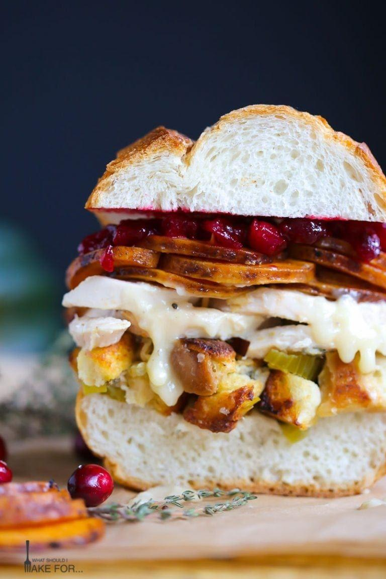 """<p>Basically, this sandwich is your plate from Turkey Day—just mixed together and piled high on a buttery roll. Take a look at all those layers!</p><p><strong>Get the recipe at <a href=""""https://whatshouldimakefor.com/thanksgiving-on-a-roll-2/"""" rel=""""nofollow noopener"""" target=""""_blank"""" data-ylk=""""slk:What Should I Make For..."""" class=""""link rapid-noclick-resp"""">What Should I Make For...</a></strong></p><p><strong><strong><strong><a class=""""link rapid-noclick-resp"""" href=""""https://go.redirectingat.com?id=74968X1596630&url=https%3A%2F%2Fwww.walmart.com%2Fip%2FCorelle-Square-Simple-Lines-9-Lunch-Plate-Set-of-6%2F41275492&sref=https%3A%2F%2Fwww.countryliving.com%2Ffood-drinks%2Fg1064%2Fthanksgiving-leftovers%2F"""" rel=""""nofollow noopener"""" target=""""_blank"""" data-ylk=""""slk:SHOP PLATES"""">SHOP PLATES</a></strong></strong><br></strong></p>"""