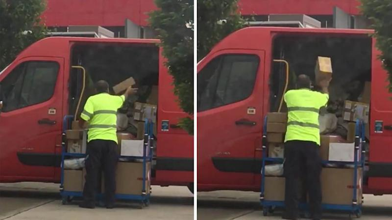 Customers say the worker threw the parcels into the van 'without a care in the world'. Source: Facebook / Glenn Burr