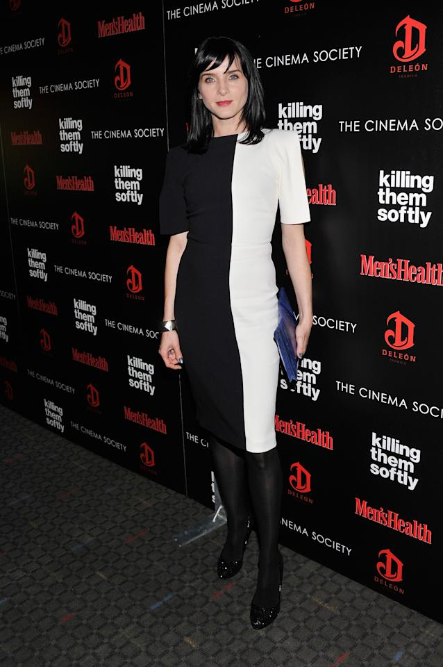 """NEW YORK, NY - NOVEMBER 26:  Actress Michele Hicks attends The Cinema Society with Men's Health and DeLeon hosted screening of The Weinstein Company's """"Killing Them Softly"""" on November 26, 2012 in New York City.  (Photo by Stephen Lovekin/Getty Images)"""