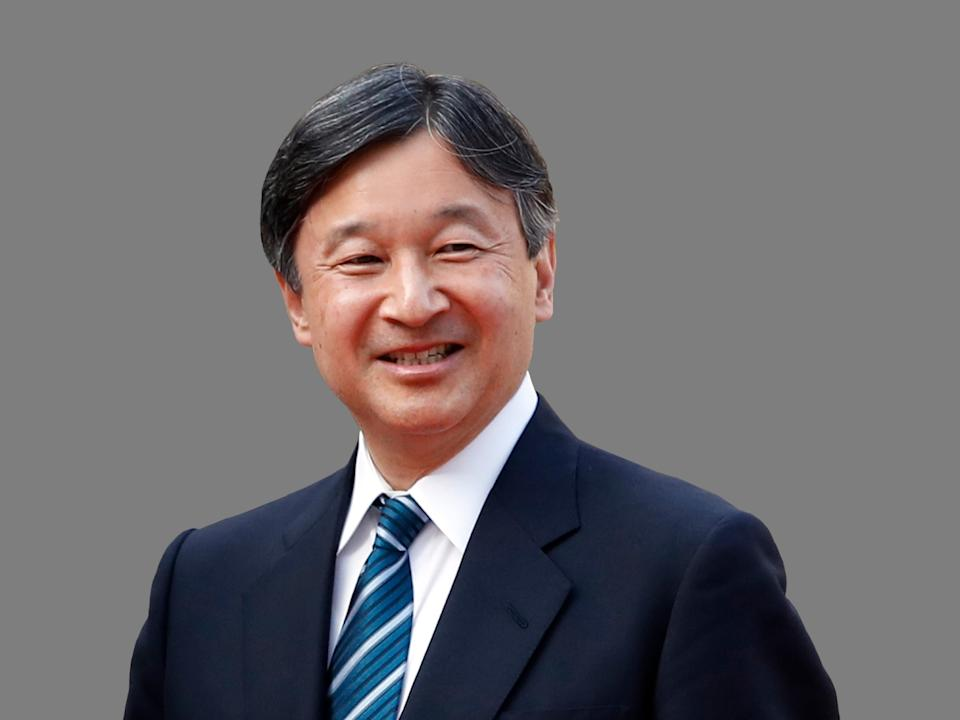 Crown Prince Naruhito of Japan, graphic element on gray