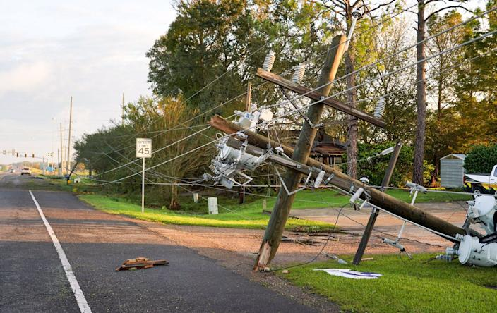 Minor damage in Crowley, Louisiana, on Saturday, Oct. 10, 2020, after Hurricane Delta moved through the area.