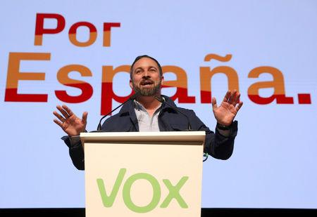 FILE PHOTO: FILE PHOTO: Santiago Abascal, leader and presidential candidate of Spain's far-right party VOX, speaks at a rally in Toledo, Spain, April 11, 2019. REUTERS/Sergio Perez//File Photo -/File Photo